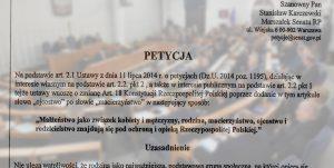 Petycja o ojcostwo w Konstytucji zarejestrowana w Senacie